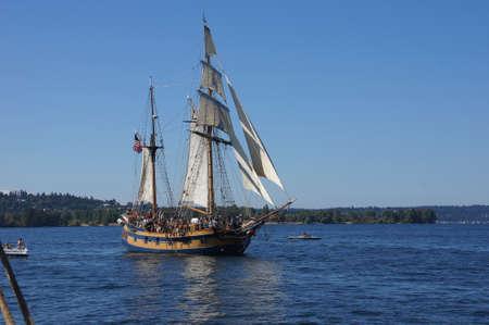 chieftain: KIRKLAND, WASHINGTON - SEP 12, 2012 - The wooden hermaphrodite brig, Hawaiian Chieftain, sails on Lake Washington    during a mock sea battle as part of Labor Day festivities on Aug 31, 2012 near Kirkland , Washington. Editorial
