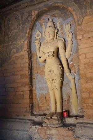 vishnu: Four armed Vishnu carving in Nathlaung Kyaung Temple, Bagan,  Myanmar (Burma)