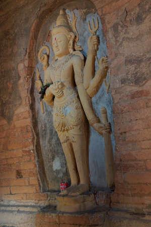 Four armed Vishnu carving in Nathlaung Kyaung Temple, Bagan,  Myanmar (Burma)