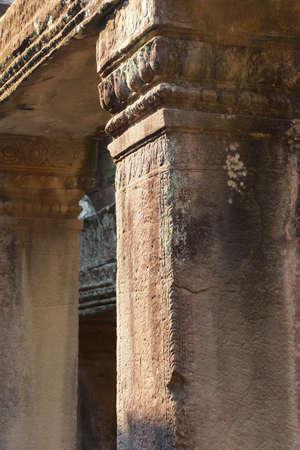 lintels: Square columns and lintels inside  Bayon, Angkor Thom,  Cambodia