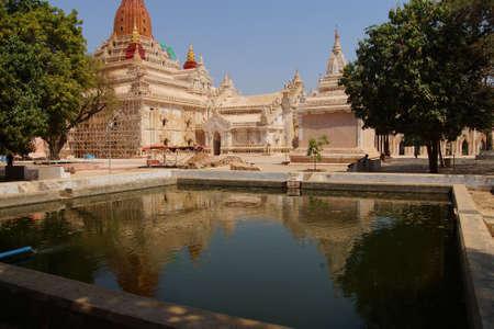 reflecting: Reflecting pool of  the Ananda Phaya Temple, Bagan,  Myanmar (Burma) Stock Photo