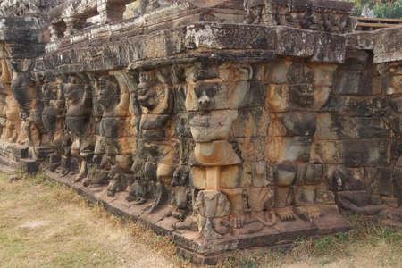 garuda: Garuda bird statues decorate the walls of the Elephant Terrace, Angkor Thom,  Cambodia Stock Photo