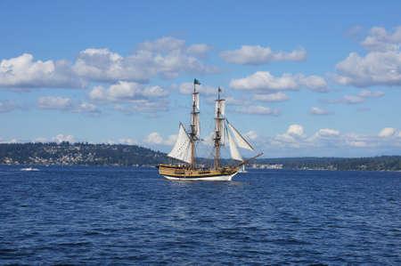ketch: KIRKLAND, WASHINGTON - AUG 31 - The wooden brig, Lady Washington, sails on Lake Washington   as part of Labor Day festivities on Aug 31, 2012 near Kirkland , Washington.