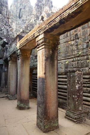 lintel: Square columns and lintels inside  Bayon, Angkor Thom,  Cambodia