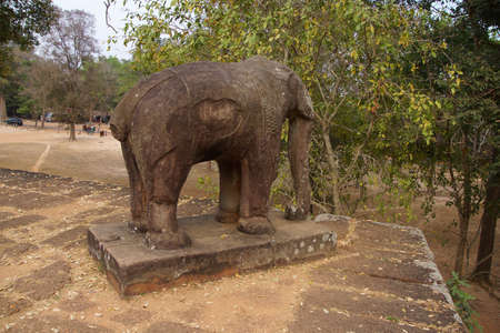 Elephant statue on the corner of the platform of Pre Rup, Cambodia