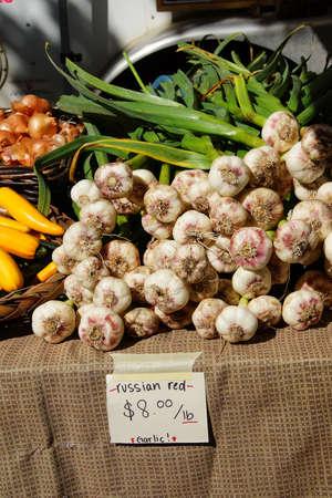 Spring garlic, onions and yellow squash at the  Saturday Market,  Penticton, British Columbia, Canada