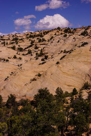 escalante: Tilted layers of sandstone cliffs, Escalante Staircase National Monument, Utah