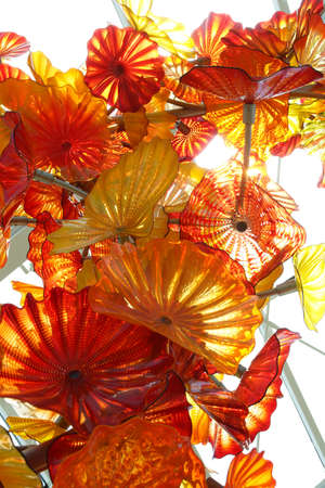 chihuly: SEATTLE - JUL 23, 2015 - Glass flowers with sunlight in the conservatory, Chihuly Garden and Glass Museum,  Seattle, Washington