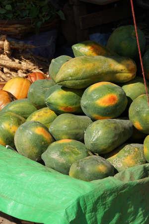 Papaya for sale at  weekly wholesale market,  Aung Ban,  Myanmar (Burma)