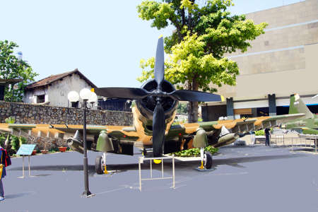 remnants: SAIGON - FEB 5, 2015 - American A1 Skyraider fighter plane from the Vietnamese war era,  War Remnants Museum, Saigon (Ho Chi Minh City),  Vietnam Editorial