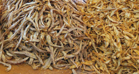 weekly market: Dried fish for sale  at a weekly market on Inle Lake,  Myanmar (Burma)