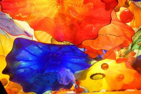 blown: SEATTLE - JUL 23, 2015 - Abstract colors of blown glass ceiling,  Chihuly Garden and Glass Museum,  Seattle, Washington Editorial