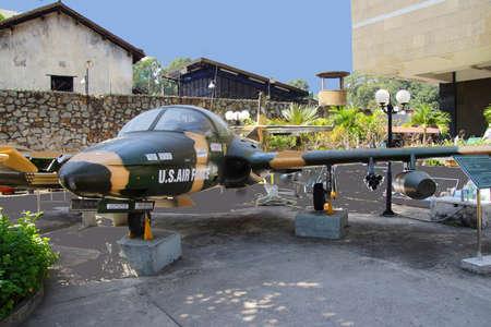 era: SAIGON - FEB 5, 2015 - American A37 fighter bomber attack aircraft from the Vietnamese war era,  War Remnants Museum, Saigon (Ho Chi Minh City),  Vietnam