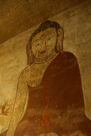 witness: Ancient fresco painting of Buddha in Bhumiparsa Mudra position, Calling the Earth To Witness the Truth, Htilominlo Temple, Bagan,  Myanmar (Burma)