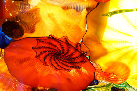 glass ceiling: SEATTLE - JUL 23, 2015 - Abstract colors of blown glass ceiling,  Chihuly Garden and Glass Museum,  Seattle, Washington Editorial