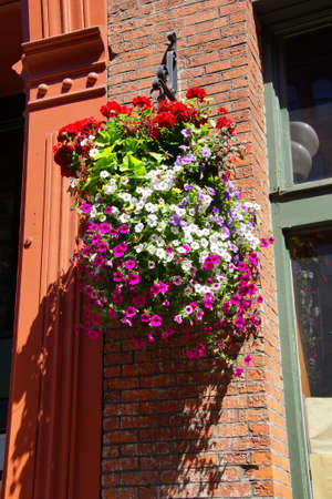 pioneer: Huge hanging flower baskets decorate  Pioneer Square,  Seattle, Washington