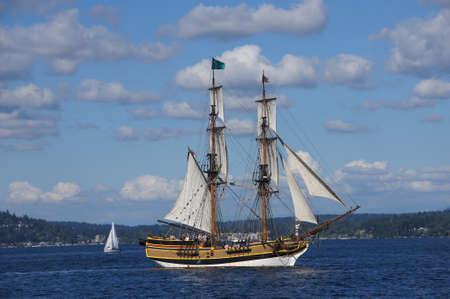 festivities: KIRKLAND, WASHINGTON - AUG 31 - The wooden brig, Lady Washington, sails on Lake Washington   as part of Labor Day festivities on Aug 31, 2012 near Kirkland , Washington.