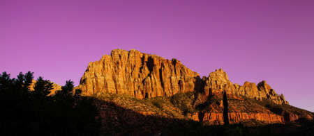a watchman: Sunset light on The Watchman, Zion National Park, Utah Stock Photo