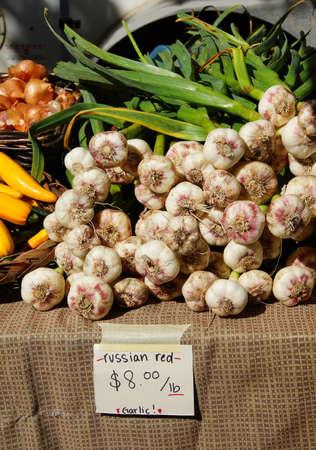 Spring garlic, onions and yellow squash at the  Saturday Market,  Penticton, British Columbia, Canada Stock fotó - 42974177