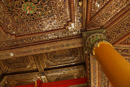 inlaid: Beautiful gold and inlaid ceiling of the exterior porch of aShwedagon Pagoda Yangon (Rangoon),  Myanmar (Burma) Stock Photo