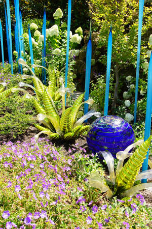 blown: SEATTLE - JUL 23, 2015 - Blown glass ferns in the  Chihuly Garden and Glass Museum,  Seattle, Washington Editorial