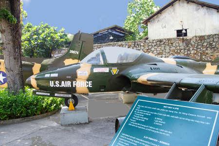 remnants: SAIGON - FEB 5, 2015 - American A37 fighter bomber attack aircraft from the Vietnamese war era,  War Remnants Museum, Saigon (Ho Chi Minh City),  Vietnam