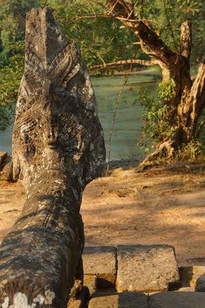serpents: Naga serpent statue at the Royal reservoir of Sra Srang,  Cambodia