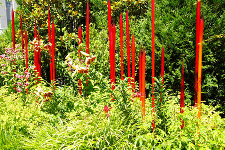 chihuly: SEATTLE - JUL 23, 2015 - Red blown glass tubes rise among lilies in the  Chihuly Garden and Glass Museum,  Seattle, Washington