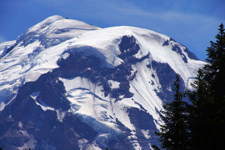 icefall: Liberty Cap Glacier and Mowich Glacier icefall, Mount Rainier National Park Stock Photo