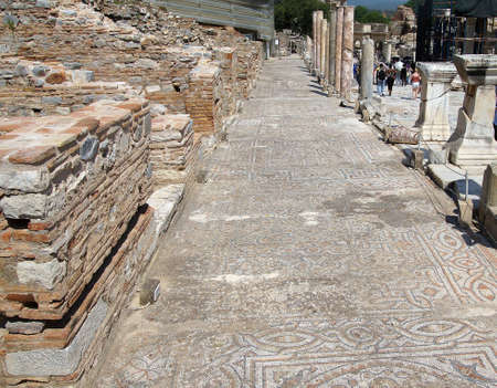 ancient geometric: Detail of geometric mosaic walk in front of small shops  from ancient Greek and Roman city of  Ephesus,  Turkey