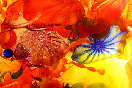 chihuly: SEATTLE - JUL 23, 2015 - Abstract colors of blown glass ceiling,  Chihuly Garden and Glass Museum,  Seattle, Washington Editorial