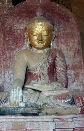Golden Buddha in Bhumiparsa Mudra position, Calling the Earth To Witness the Truth, Dhammayangyi Temple, Bagan,  Myanmar (Burma)