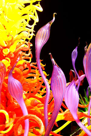 chihuly: SEATTLE - JUL 23, 2015 - Swirling  colors of blown glass creations,  Chihuly Garden and Glass Museum,  Seattle, Washington Editorial