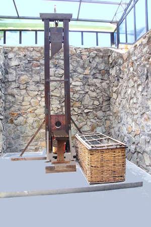 remnants: SAIGON - FEB 5, 2015 - Guillotine used in Vietnamese prison,  War Remnants Museum, Saigon (Ho Chi Minh City),  Vietnam
