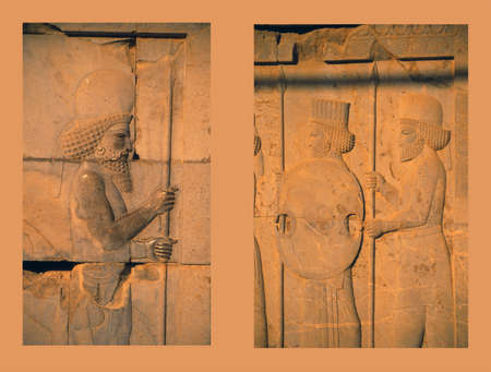 ancient soldiers: Ancient Mede and Persians soldiers, Apadana staircase,   (capital city of Persian empire, Darius ) Persepolis, Iran, Middle East