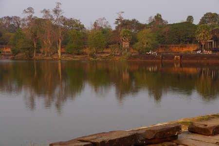 moat wall: Moat and outer walls at sunset,  Angkor Wat,  Cambodia