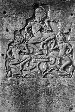 apsara: Dancing apsara devas on square columns of  Bayon Temple, Angkor Thom,  Cambodia