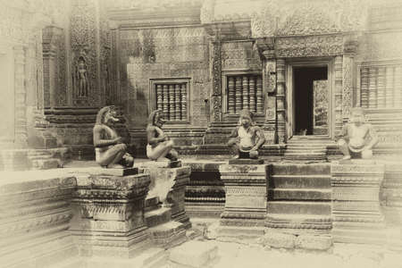 guardians: Monkey guardians outside temple at  Banteay Srei, Cambodia