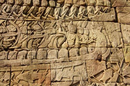 angkor wat: Sea battle between the Cham and Khmer,  Bayon, Angkor Thom,  Cambodia Stock Photo
