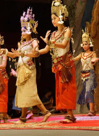 recital: SIEM REAP, CAMBODIA - FEB 14, 2015 - Apsara dancer in red skirt performs at an evening recital,  Siem Reap,  Cambodia Editorial