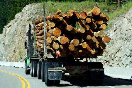 Logging truck on mountain highway,   British Columbia, Canada