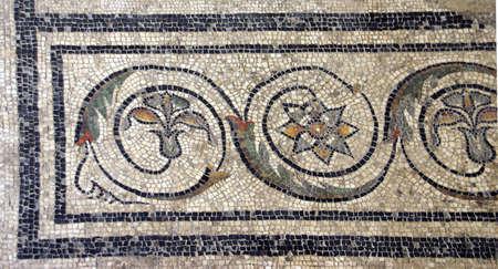 Mosaic tile floor in ancient Romain villa of Villasse Roman ruins, Vaison la Romaine, France