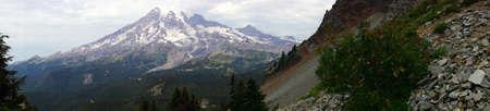 icefall: Panorama, south slopes of Mt. Rainier, Mount Rainier National Park Stock Photo