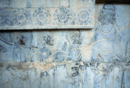 bas relief: Tribute Bearers (Lydians)  (capital city of Persian empire, Darius ) Persepolis, Iran, Middle East Stock Photo