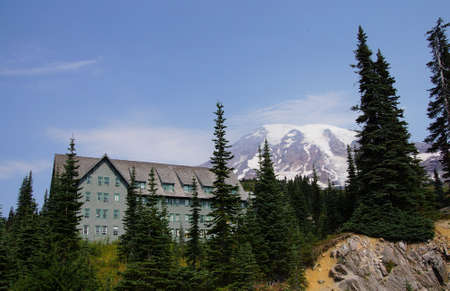 lodge: National Park Lodge at Patradise with Mt. Rainier in background, Mount Rainier National Park