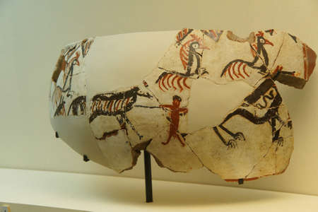 vasi greci: Vase fragments with neolithic hunting scenes, found near  tomb of King Midas of Phrygia,Gordium, Turkey