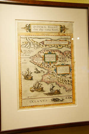 ASTORIA, OREGON - OCT 1, 2015 - Antique map of Oregon and the Columbia River,  Columbia River Maritime Museum  Astoria, Oregon