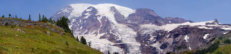 rainier: Panorama, south slopes of Mt. Rainier, Mount Rainier National Park Stock Photo