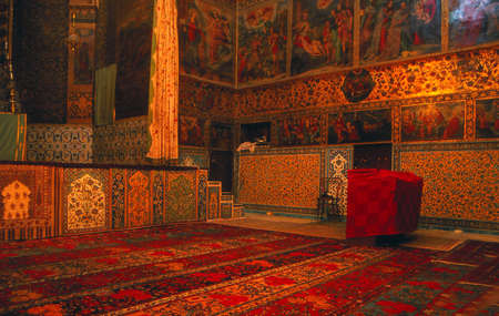 Rugs & frescos, Armenian Church, Isfahan,Iran, Middle East
