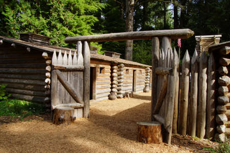 stockade: Stockade fence of Fort Clatsop, re-construction at   Lewis and Clark National Historical Park, Oregon